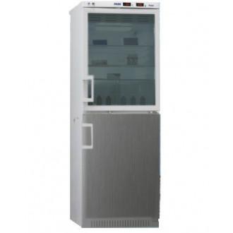 Холодильник фармацевтический двухкамерный ХФД-280(ТС) (140/140 л) с дверью из металлопласта и с тонированной стеклянной дверью серебряного цвета в Пятигорске